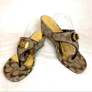 "COACH ""Noble"" Brown Platform Wedge Sandal"